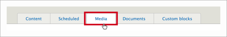 Media tab in content dashboard of PSB