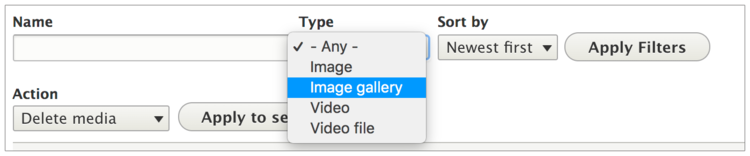 Select image gallery from the Type pulldown